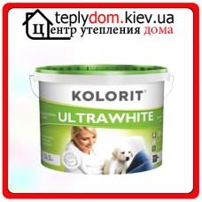 Водно-дисперсионная краска с повышенной белизной Kolorit ULTRAWHITE, цвет белый, 10 л